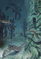 Burgess Shale environment - Middle Cambrian. The large predator Anomalocaris looms in the background as Opabinia pulls Burgessochaeta from its burrow.